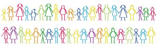 Vektorillustrationen av den färgrika mannen och den kvinnliga pinnen figurerar anseende i rader som rymmer händer vektor illustrationer