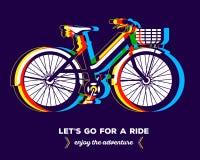 Vektorillustrationen av den färgrika cykeln med korgen och text lät Arkivbild