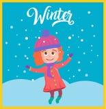 Vektorillustrationen av den gulliga flickan kastar snöboll vektor illustrationer