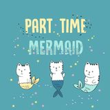 Vektorillustrationen av den gulliga kattsjöjungfrun under vatten, skissar borstar, grafisk efterföljd för färgpennor, modetrycket royaltyfri illustrationer
