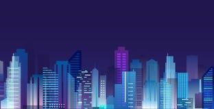 Vektorillustrationen av den härliga nattstaden, skyskrapor tänder i nattmetropolisen, horisont i plan stil stock illustrationer