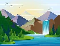 Vektorillustrationen av den härliga vattenfallet i berglandskap med träd, vaggar och himmel Grönt trä med den lösa naturen vektor illustrationer