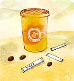 Vektorillustrationen av den pappers- koppen med varmt kaffe, bönor och socker klibbar på vattenfärgapelsinbakgrund Royaltyfria Bilder