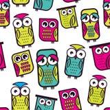Den Seamless owlen mönstrar Royaltyfri Fotografi
