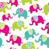 Den Seamless retro elefanten mönstrar Fotografering för Bildbyråer
