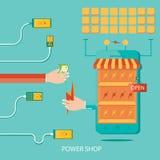 Vektorillustrationen av den sol- växten, energi shoppar och att tillverka nolla Stock Illustrationer