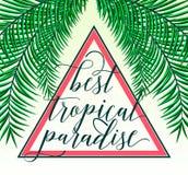 Vektorillustrationen av det tropiska paradiskortet med palmblad, sommarbokstäver undertecknar in triangeln Idérik färg Fotografering för Bildbyråer