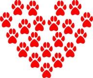 Vektorillustrationen av djuret tafsar tryck som bildar hjärtan Arkivfoton