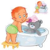 Vektorillustrationen av en behandla som ett barn badar hans nallebjörn i badkaret Arkivfoton