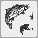 Vektorillustrationen av en forellfisk och fiske planlägger beståndsdelar stock illustrationer