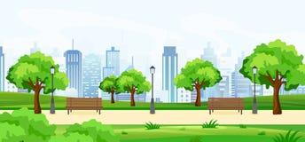 Vektorillustrationen av en härlig sommar parkerar, med gröna träd och bänkar, panoramautsikten på stor modern cityscape vektor illustrationer