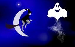 Vektorillustrationen av en häxa på en kvast och flygspökar tände den ljusa månen, kom ferieallhelgonaaftonen Royaltyfri Fotografi