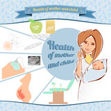 Vektorillustrationen av en kvinnlig doktor med nyfött behandla som ett barn Arkivbilder
