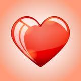 Vektorillustrationen av en ljus skinande glass röd hjärta formade sym Arkivbild