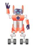Vektorillustrationen av en robot 3d hälsar royaltyfri illustrationer