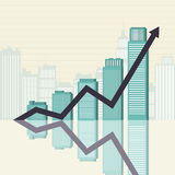 Affärsframgång står hög grafiskt Arkivbild