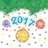 Vektorillustrationen av ett grönt sörjer trädet, eller julgranen med hängande jul klumpa ihop sig på vit bakgrund Arkivfoto