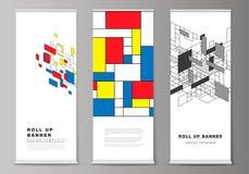 Vektorillustrationen av f?r rulle banerst?llningar upp, vertikala reklamblad, flaggor planl?gger aff?rsmallar Abstrakt polygonal royaltyfri illustrationer