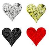 Vektorillustrationen av hjärta i olik färger och stil Royaltyfri Bild