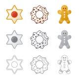 Vektorillustrationen av kexet och bakar logo Samling av kex- och chokladmaterielsymbolet f?r reng?ringsduk vektor illustrationer