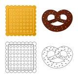 Vektorillustrationen av kexet och bakar symbolen Samling av kex- och chokladvektorsymbolen f?r materiel royaltyfri illustrationer