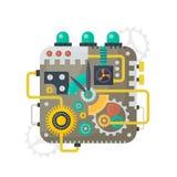 Vektorillustrationen av klockaframsidan av klockatappning förser med kuggar, kugghjul och våg inom begrepp isolerad teknologiwhit stock illustrationer