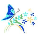 Vektorillustrationen av krypet, blå fjäril, blommar och förgrena sig med sidor som isoleras på den vita bakgrunden Arkivfoto
