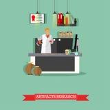 Vektorillustrationen av kulturföremål forskar i laboratorium med special utrustning stock illustrationer