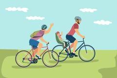 Vektorillustrationen av lyckligt samma-könsbestämmer familjen i hjälmar som rider b stock illustrationer