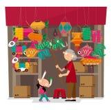 Vektorillustrationen av lyktan shoppar i Hong Kong Arkivbild