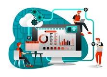 Vektorillustrationen av mapplagringsteknologi och att dela, den avlägsna arbetaren, knyter kontakt bransch 4 folk som delar arbet vektor illustrationer