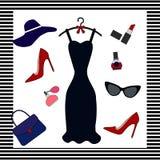 Vektorillustrationen av olika objekt förband till glamoursommarlivsstilen stock illustrationer