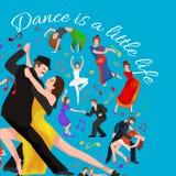 Vektorillustrationen av par som dansar den moderna dansen, partners dansar bachataen som dansar uppsättningen för stildesignbegre royaltyfri illustrationer