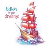 Vektorillustrationen av seglar skeppet med havet Royaltyfri Foto