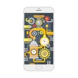 Vektorillustrationen av smartphonen med olik steampunktappning förser med kuggar, kugghjul och våg inom begrepp isolerad teknolog royaltyfri illustrationer