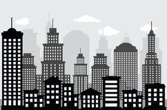 Cityscape (svart & vit) Fotografering för Bildbyråer