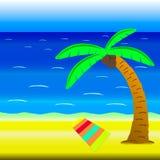 Vektorillustrationen av stranden med havet, horisont, gömma i handflatan, kokosnöten, sand och handduken Royaltyfri Fotografi