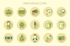 Vektorillustrationen av symboler för affären för lägenheten för begreppet för ensemblen för nyheterna för massmediajournalistikra Royaltyfri Foto