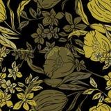 Vektorillustrationen av tappning inspirerade stiliserade guld- gula påskliljor och tulpan vektor illustrationer