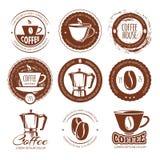 Vektorillustrationen av tappningkaffe märker och förser med märke vektor för logo för cafekaffeillustration stock illustrationer