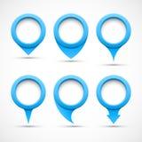 Uppsättningen av blått cirklar pekare 3D Arkivbilder