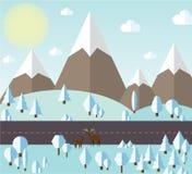 Vektorillustrationen av vinterskogen och berg vid vägen, allt täckas med vit snö, solig himmel för frikänd Arkivbilder