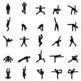 Vektorillustrationen av yoga poserar konturn Arkivfoto