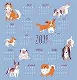 Vektorillustrationen - Calendar 2018 med hundkapplöpning på den blåa bakgrunden Moderiktig scandinavian design Arkivfoton