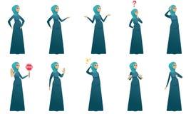 Vektorillustrationen der schwangeren Frau der Moslems eingestellt Stockfoto