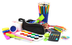 Vektorillustrationen, eps10, innehåller stordior kulöra blyertspennor, penna, plågor, papper för skola och studentutbildning på v Royaltyfri Bild