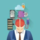 Vektorillustrationen för affischmallen om den stora datalagringen, hjärna är toppna stora data Royaltyfria Foton