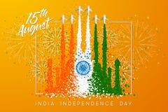 Vektorillustrationen för 'den Indien självständighetsdagen 'med röken av flygplan omformar till 'Taj Mahal ', vektor illustrationer