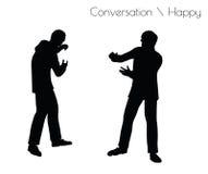 Vektorillustrationen för EPS 10 av mannen i ilsken konversation poserar på vit bakgrund stock illustrationer