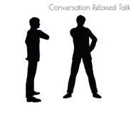 Vektorillustrationen för EPS 10 av mannen i konversation kopplat av samtal poserar på vit bakgrund stock illustrationer